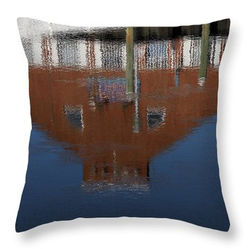 Red Building Reflection Throw Pillow by Karol Livote