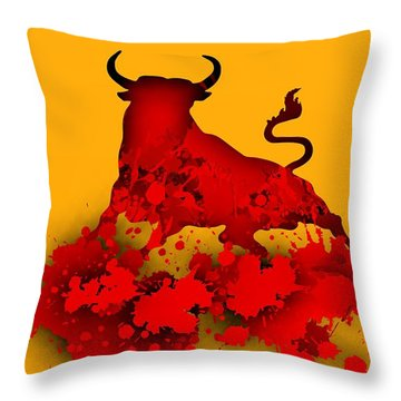 Red Bull.1 Throw Pillow