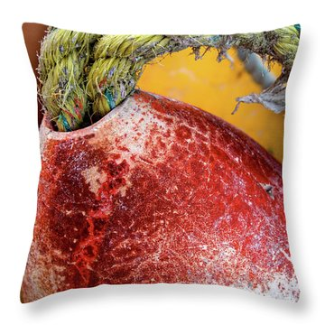 Throw Pillow featuring the photograph Red Buoy Closeup by Carol Leigh