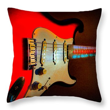 Red Burst Stratocaster Glow Neck Series Throw Pillow