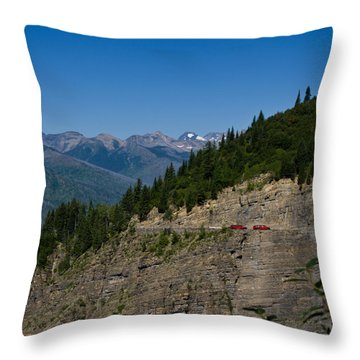 Red Buses, Glacier National Park Throw Pillow