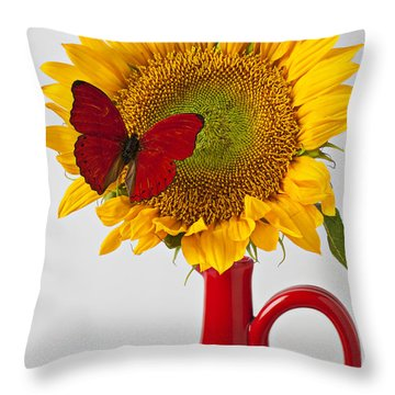 Red Butterfly On Sunflower On Red Pitcher Throw Pillow by Garry Gay