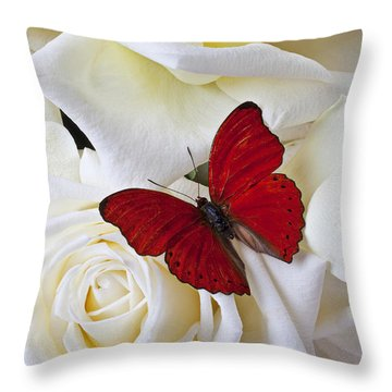Red Butterfly On White Roses Throw Pillow