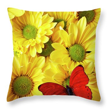 Red Butterfly On Yellow Mums Throw Pillow by Garry Gay