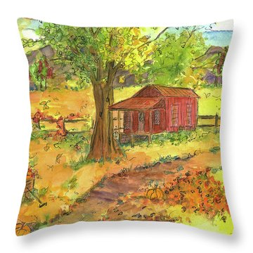 Throw Pillow featuring the painting Red Cabin In Autumn  by Cathie Richardson