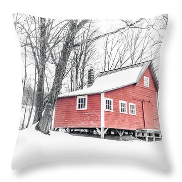 Throw Pillow featuring the photograph Red Cabin In The Woods Winter In Vermont by Edward Fielding