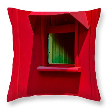 Red Caboose Window In Shade Throw Pillow