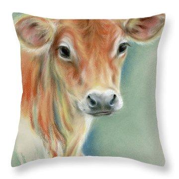 Red Calf Portrait Throw Pillow