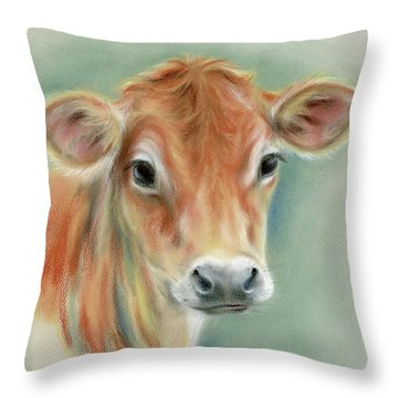 Red Calf Portrait Throw Pillow by MM Anderson