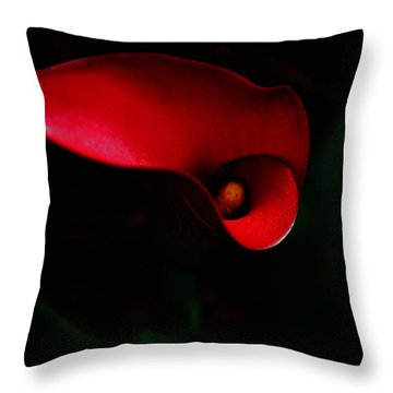 Red Calla Lilly Throw Pillow by Debra Crank