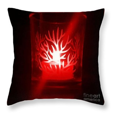 Red Candle Light Throw Pillow