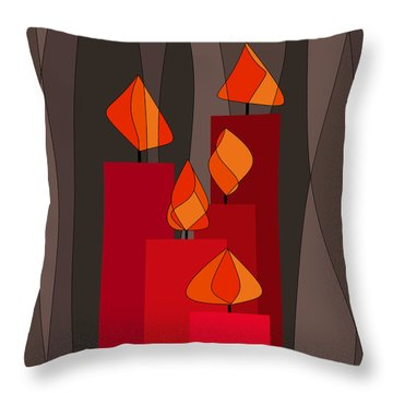 Red Candles - Square Throw Pillow