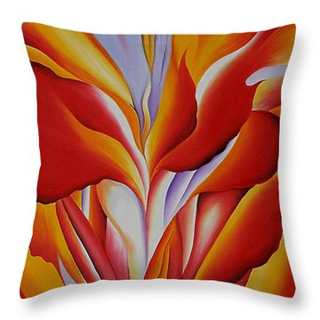 Red Canna Throw Pillow by Georgia OKeefe