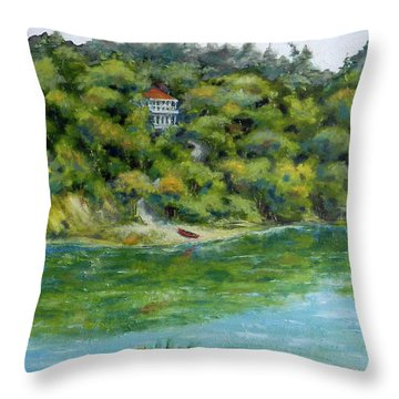 Red Canoe Throw Pillow by William Reed