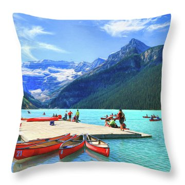 Throw Pillow featuring the photograph Red Canoes  Of Lake Louise - Banff National Park Canada by Ola Allen