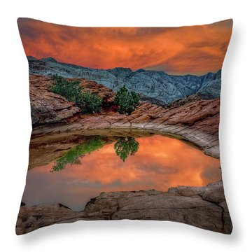 Red Canyon Reflection Throw Pillow