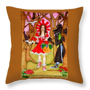 Throw Pillow featuring the painting The Little Riding Hood And The Wolf In Chucks by Don Pedro De Gracia