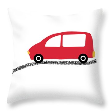 Red Car On Road- Art By Linda Woods Throw Pillow