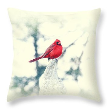 Red Cardinal On Angel Wing Throw Pillow by Charline Xia