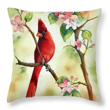 Red Cardinal And Blossoms Throw Pillow