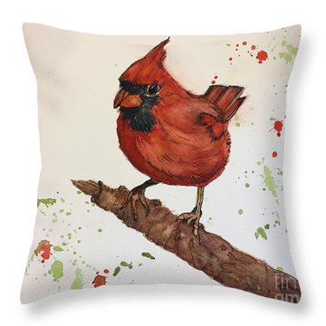 Red Cardinal Throw Pillow by Lucia Grilletto