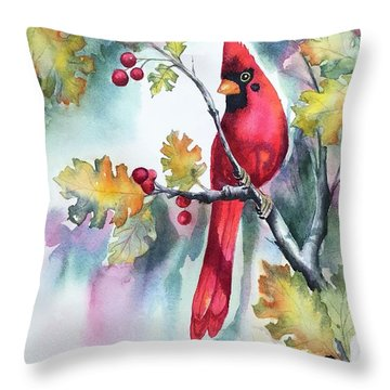 Red Cardinal With Berries Throw Pillow