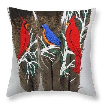 Red Cardinals On Turkey Feathers Throw Pillow
