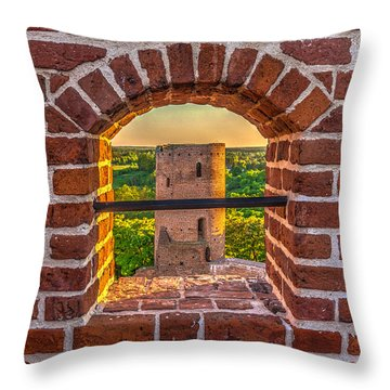 Red Castle Window View Throw Pillow