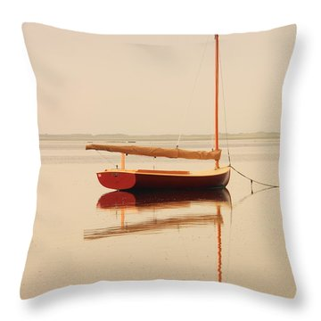 Red Catboat On Misty Harbor Throw Pillow