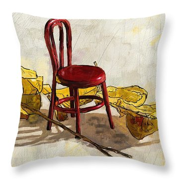 Red Chair And Yellow Leaves Throw Pillow