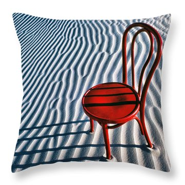 Red Chair In Sand Throw Pillow