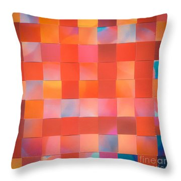 Throw Pillow featuring the mixed media Red Check by Jan Bickerton