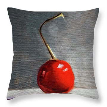 Throw Pillow featuring the painting Red Cherry by Nancy Merkle