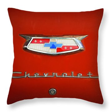 Throw Pillow featuring the photograph Red Chevy Bel-air Trunk by Marilyn Hunt