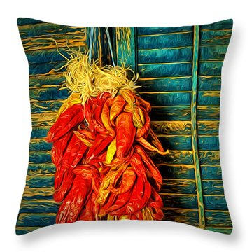 Red Chilis  ... Throw Pillow by Chuck Caramella