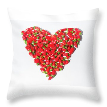 Red Chillie Heart II Throw Pillow