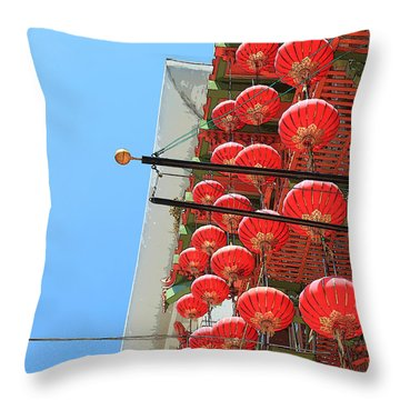 Throw Pillow featuring the painting Red Chinese Lanterns by Jeanette French