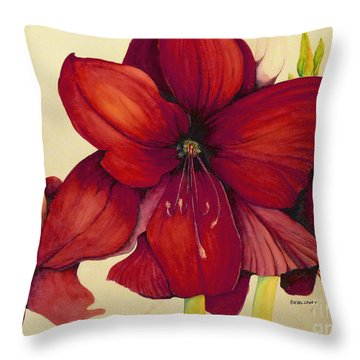 Red Christmas Amaryllis Throw Pillow by Rachel Lowry