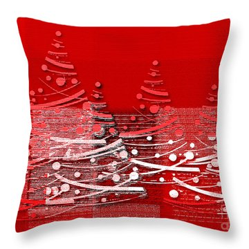 Red Christmas Trees Throw Pillow by Aimelle