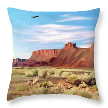 Red Cliff Eagle Throw Pillow