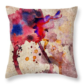 Red Color Splash Throw Pillow