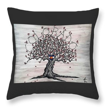 Throw Pillow featuring the drawing Red Colorado Love Tree by Aaron Bombalicki