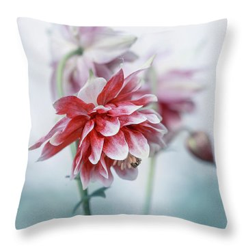 Red Columbines Throw Pillow