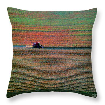 Red Combine Harvesting  Mchenry Aerial Throw Pillow
