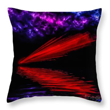 Red Comet Throw Pillow by Naomi Burgess