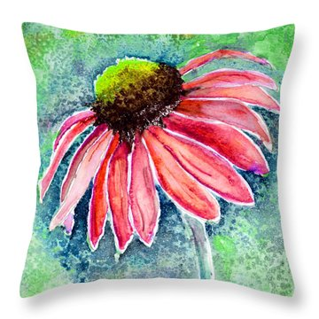 Throw Pillow featuring the painting Red Cone Flower 9-1-15 by Mas Art Studio