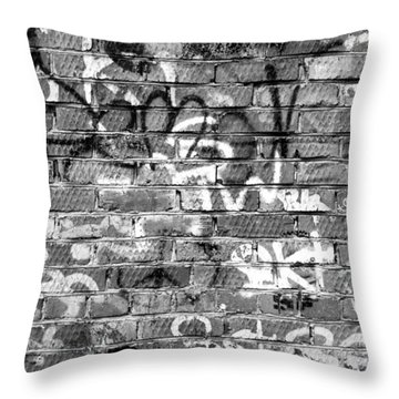 Red Construction Brick Wall And Spray Can Art Signatures Throw Pillow