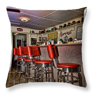 Red Cottage Restaurant Throw Pillow by Edward Sobuta