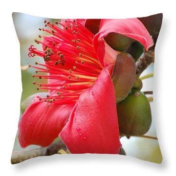 Red Cotton Tree Throw Pillow
