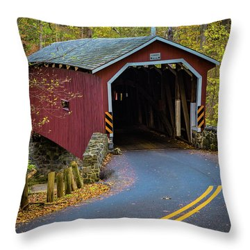 Red Covered Bridge In Lancaster County Park Throw Pillow